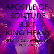 REVOLT!: APOSTLE OF SOLITUDE, B.S.T., KING HEAVY am 15.11. im Bambi Galore, Hamburg