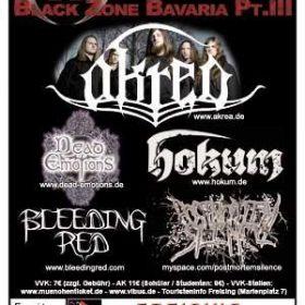 BLACK ZONE BAVARIA Pt. III mit AKREA, DEAD EMOTIONS, HOKUM, BLEEDING RED und POSTMORTEM SILENCE: Lindenkeller, Freising, 9.4.2010