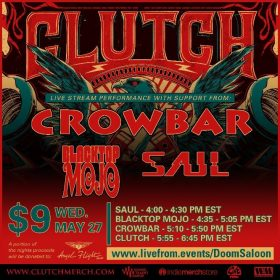 CLUTCH & CROWBAR:  Livestream am 27. Mai