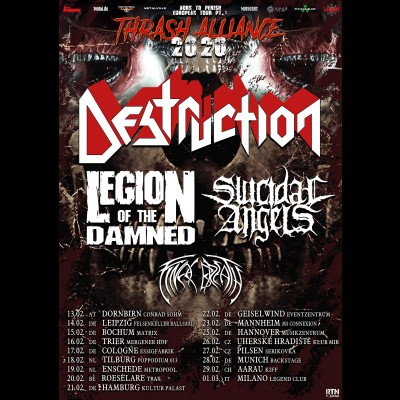 "DESTRUCTION: ""Thrash Alliance Tour 2020"" mit LEGION OF THE DAMNED, SUICIDAL ANGELS und FINAL BREATH"