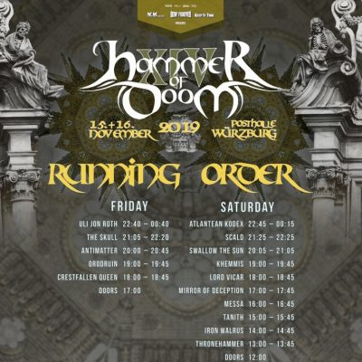HAMMER OF DOOM 2019: die Running Order