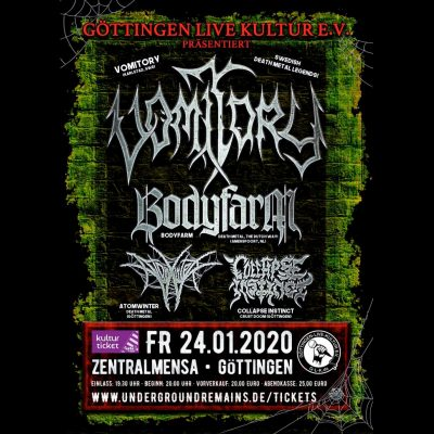 VOMITORY: Konzert mit BODYFARM, ATOMWINTER & COLLAPSE INSTINCT in Göttingen